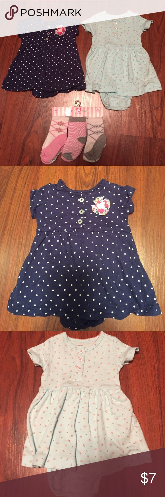 Carter dresses NWOT. Two adorable dresses! Throwing the socks in for free! Perfect for spring it'll be here eventually. carters Dresses Casual