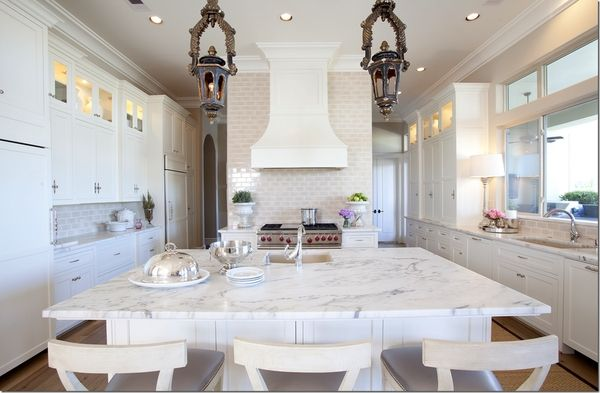 white kitchen with marble and cream subway tiles - love the chandeliers too!: Kitchens Design, Lights Fixtures, Interiors, Subway Tile, Kitchens Ideas, Cote De Texas, Marbles Countertops, Kitchens Layout, White Kitchens