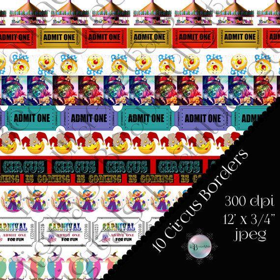 10 Circus-Carnival Digital Borders  12inch by Beauladigitals