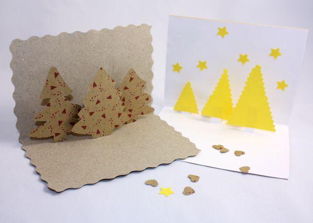 Opäť inšpirácia na vianočné tvorenie s deťmi. Spolu môžete veľmi jednoducho vytvoriť vianočné pozdravy podľa vlastnej fantázie. Potrebujeme: 1 hrubší papier A4 1 tenší papier A4 tenší papier na stromčeky pravítko, nožnice, lepidlo kedže nie som expert na kreslenie pomohla som si formičkami na medovníky Papiere o veľkosti A4 zložíme napoly a roztrihneme. Polovičky opäť zložíme napoly, tie budú tvoriť náš pozdrav.