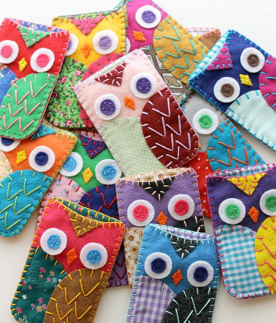 Felt & Fabric Owl Cell Phone Cozies by lova revolutionary, via Flickr