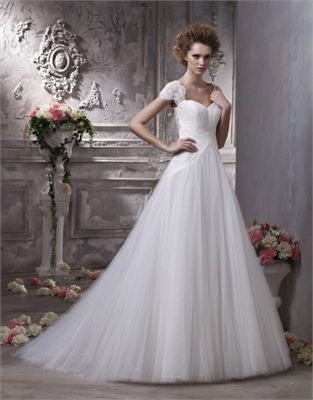 Organza and lace A-line one-shoulder V-neck Halter sweep train white/ivory sexy spring Anjolique Wedding Dresses AWD178