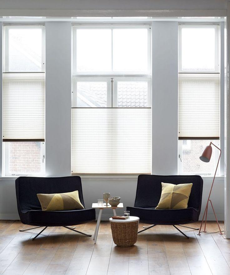 stijvol lichtdoorlatend plisségordijn van bece® voor in de woonkamer #plisségordijn #pleatedblind #woonkamer #raamdecoratie #zonwering #interieur #zon #bece
