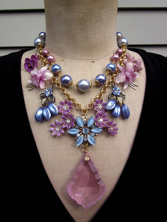 Vintage Flower Necklace Wedding Jewelry Statement by ...
