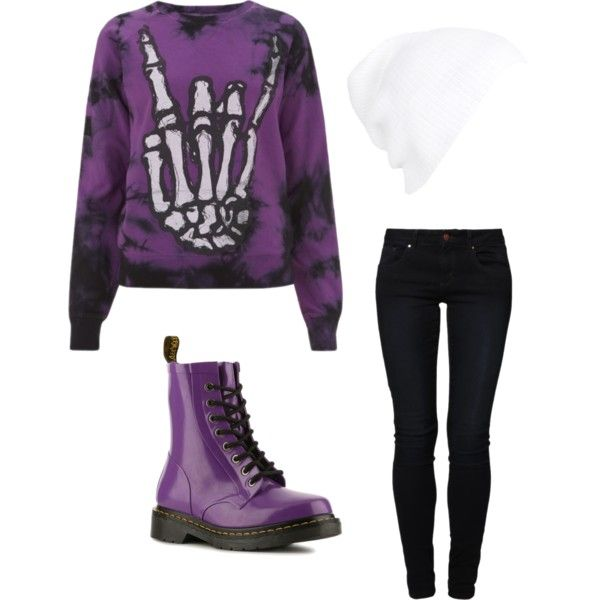 Rock on purple, black and white indie scene winter/fall outfit