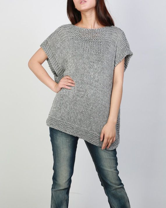 New design for this FALL/ WINTER! This beautiful and unique tunic sweater vest will make you stylish and on trend. It is made of 100% eco cotton yarn in a nice grey shade. No itch at all! It has unique trim pattern designed on top neckline, sides and bottom.   It is features on: 1. drop shoulder style 2. unique trim pattern designed on top neckline, sides and bottom. 3. rolled edge at neckline and hemline.  Other colors are coming up!  Size: S(us 0-4) M(us 6-8) L(us 10-12). . Ready to sh...