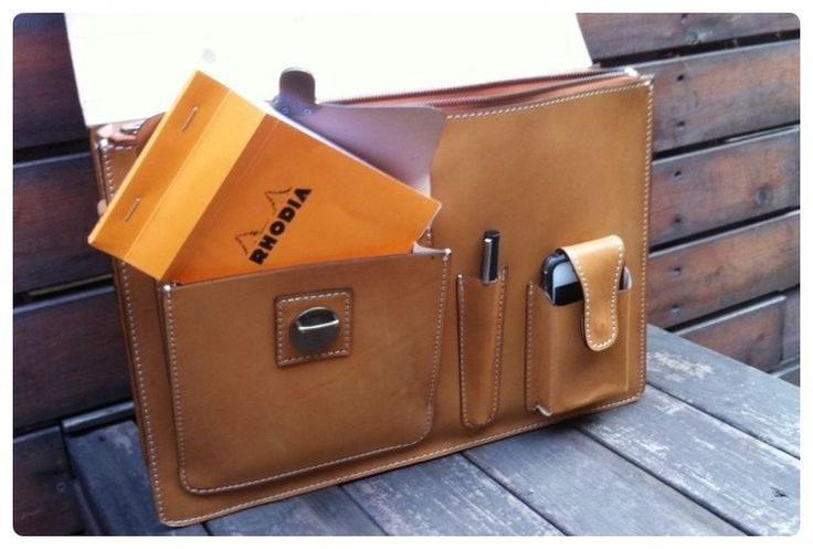 Vegetable tanned leather big briefcase bag with a pouch, pencil case, and cell phone holder. Custom Republic.