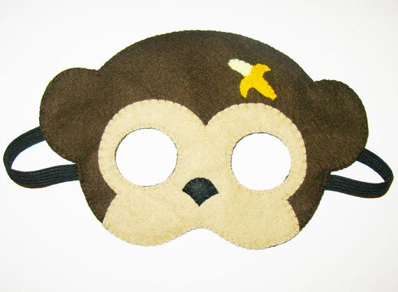 Monkey felt mask  brown party animal costume  for by FeltFamily, $19.00