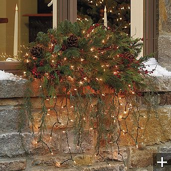 outside your window ~ gorgeous!: Holiday, Windowbox, Idea, Christmas Outdoor, Window Swags, Christmas Window, Window Boxes