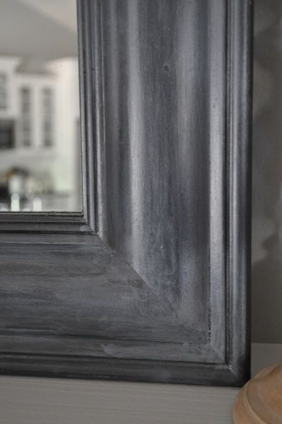 """Bungalow Blue Interiors; DIY: """"zinc""""mirror with Martha's metallic paint in Quayside and glaze"""