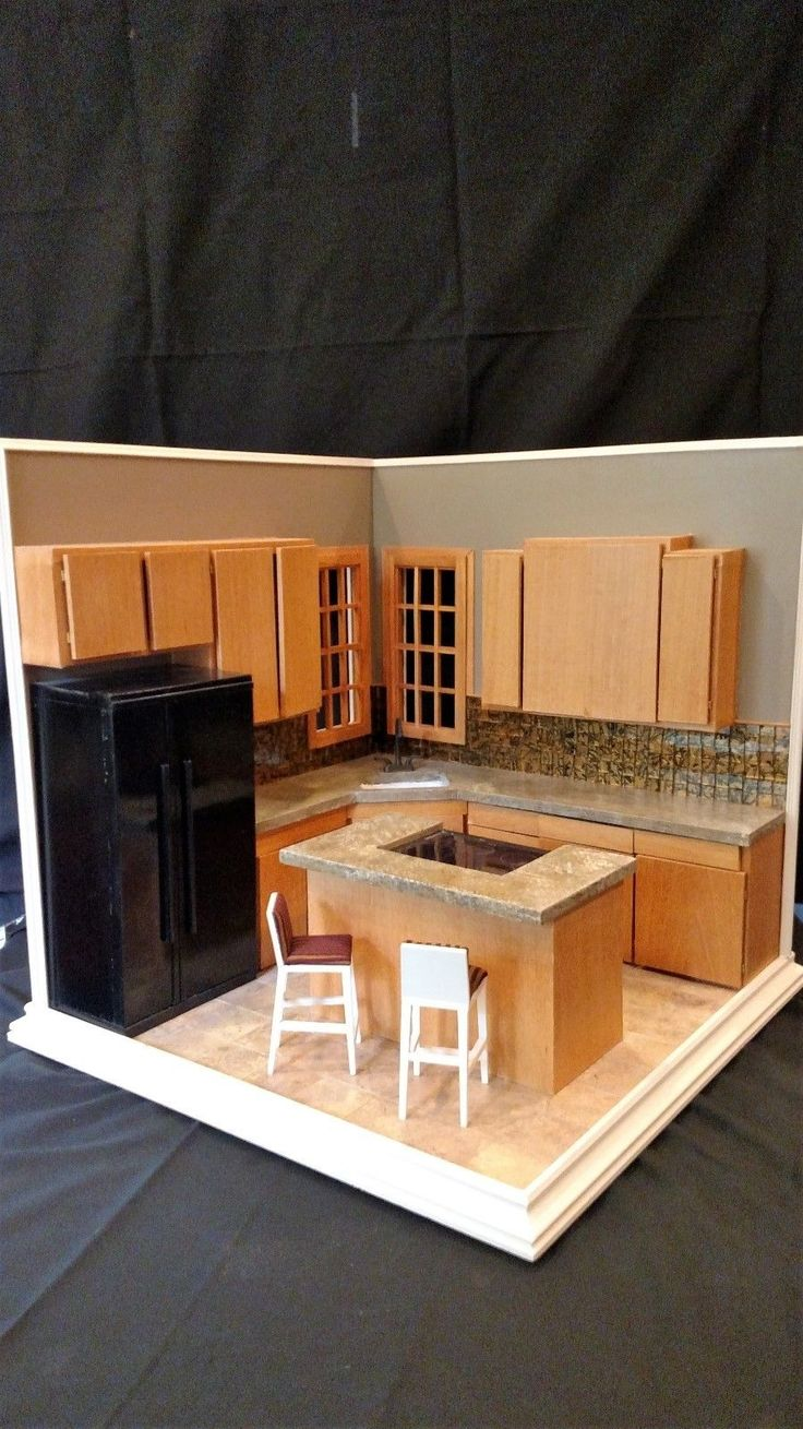"Kitchen Diorama Made Of Cereal Box: ""Corner Kitchen"" A Hand Crafted 1:6 Scale Diorama Room Box"