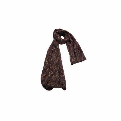 Cachecol Fitas Marrom Escuro de Lã - 4811 #Cachecol #Cachecóis #scarfs #scarf #fashion #modafeminina #moda