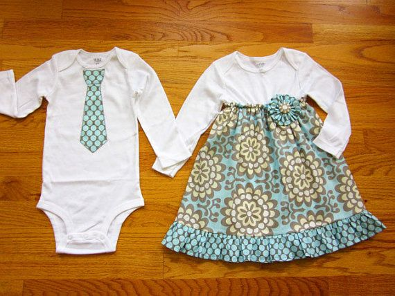 Matching Outfits Brother Sister Siblings - Girls Onesie Dress and Boys Tie Onesie or Tie Tshirt - Wallflowers in Sky - Lotus collection