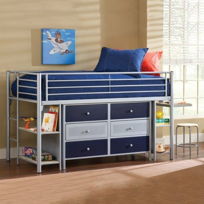Residential ideas nursery children high bed drawers storage ideas beige paint