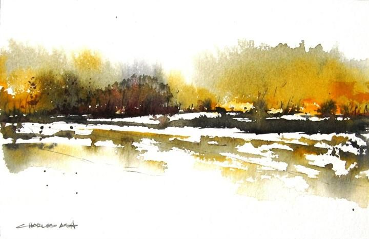 "Original art for sale at UGallery.com | Aspen Basin by Charles Ash | $225 | watercolor painting | 7"" h x 11"" w 