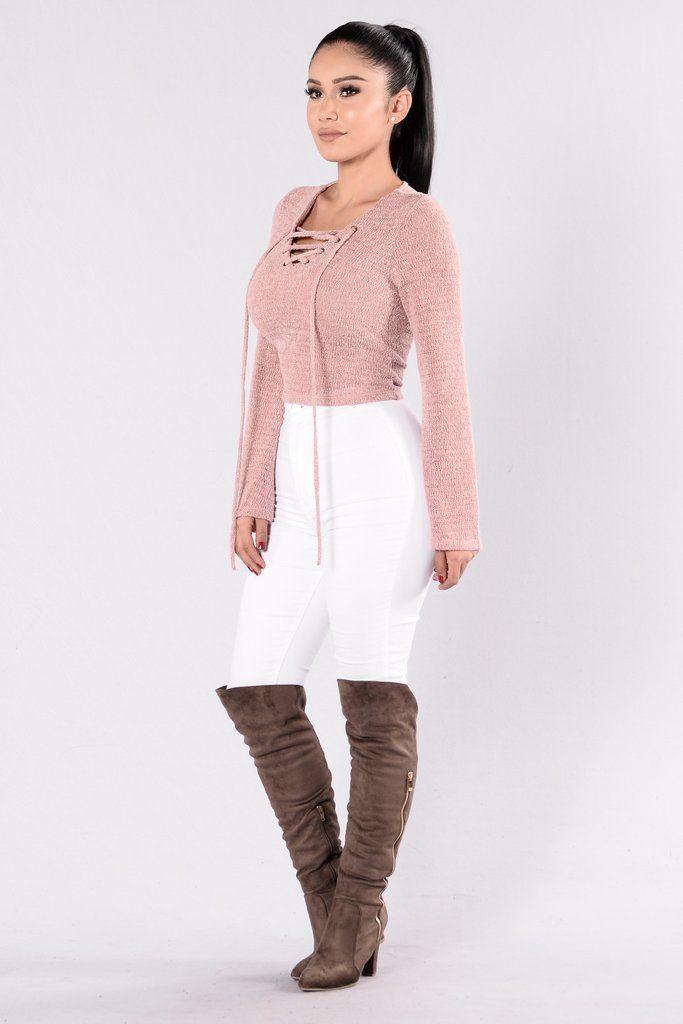 Tying It Up Sweater - Dusty Pink