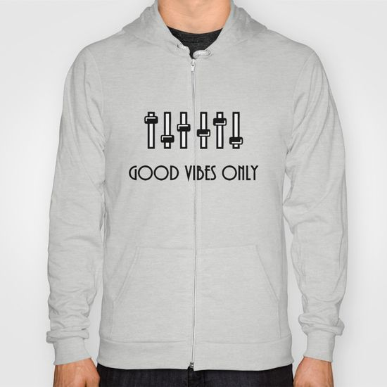 Surprise Extension: 20% Off + Free Worldwide Shipping on Everything - Sale Ends Tonight at Midnight PT! Good vibes only, positive vibration, black and white clipart, music equalizer minimalist design #Hoody #hoodies #society6