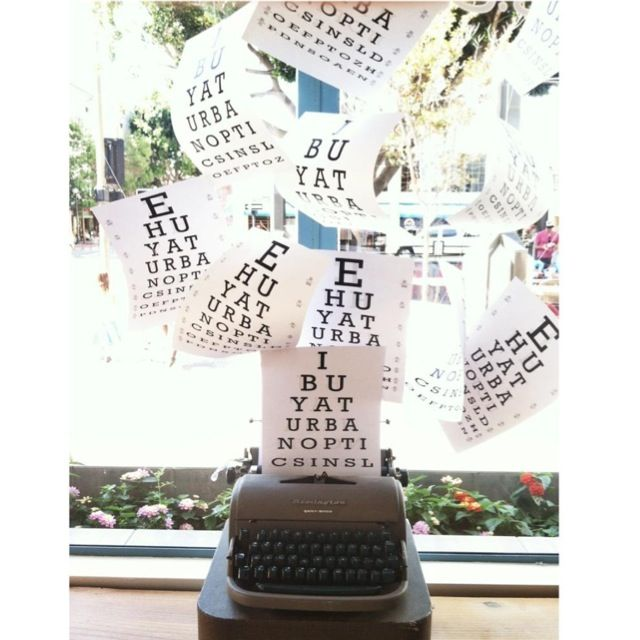 Eyechart vision exam vintage typewriter window display