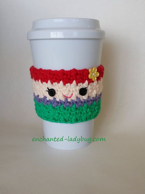 Free Crochet Ariel Little Mermaid coffee cup cozy pattern by The Enchanted Ladybug