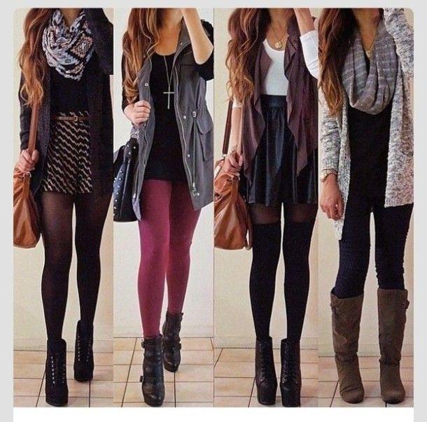 jewels fall fall outfits fall fashion black burgundy grey tights scarf dress skirt leather skater skirt socks lita high heels vest shorts ca...