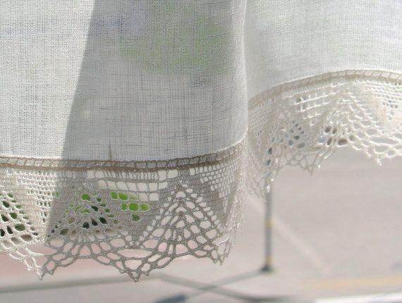 Cortina cortinas de arpillera encaje Cafe de por Initasworks