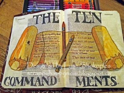 .....Scrappy Happy Mom: Bible Art Page- The Ten Commandments