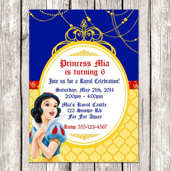Snow White Photo Invitation Snow White by LetsPrintAParty on Etsy