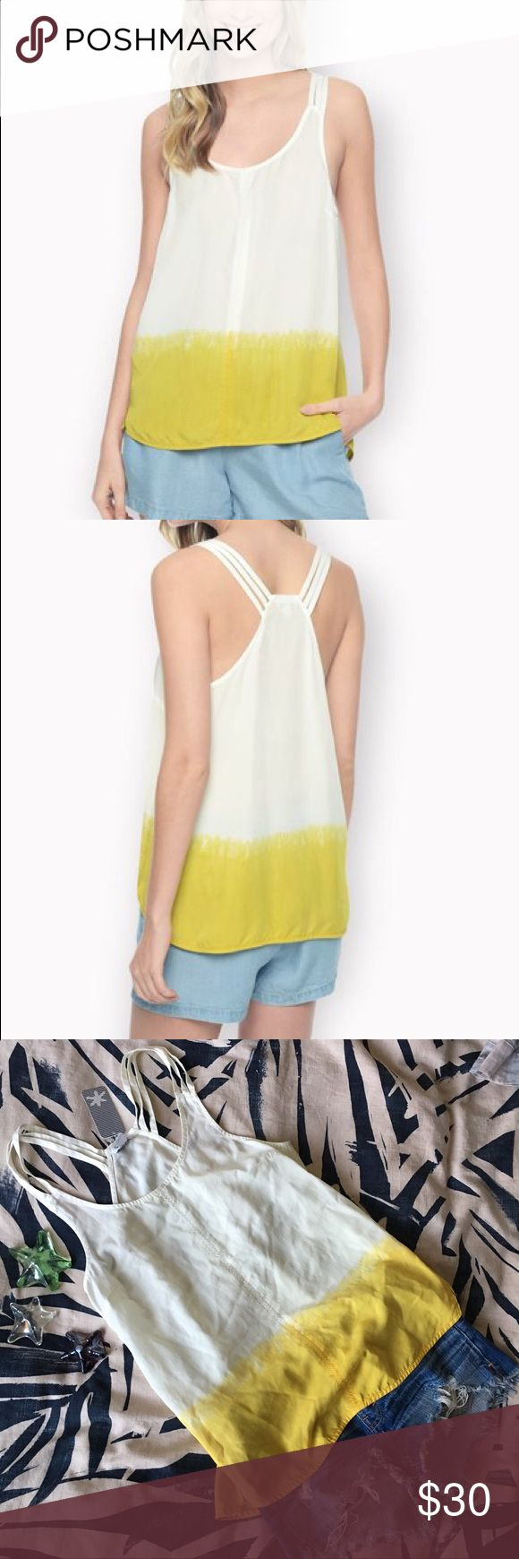 NEW 🌼 Splendid Blazing Yellow/White Dip Dye Top **NWT** Splendid Blazing Yellow/White Dip Dye Top - Size: Small - Materials: 100% Tencel - Super cute tank for summer with a simple Ombré dye and racerbavk straps - It's loose fitting and flowy- Very comfortable to wear and goes nicely with a pair of shorts 💛💛 Splendid Tops Blouses