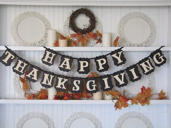 HAPPY THANKSGIVING Banner for the Thanksgiving Season on Etsy, $28.00