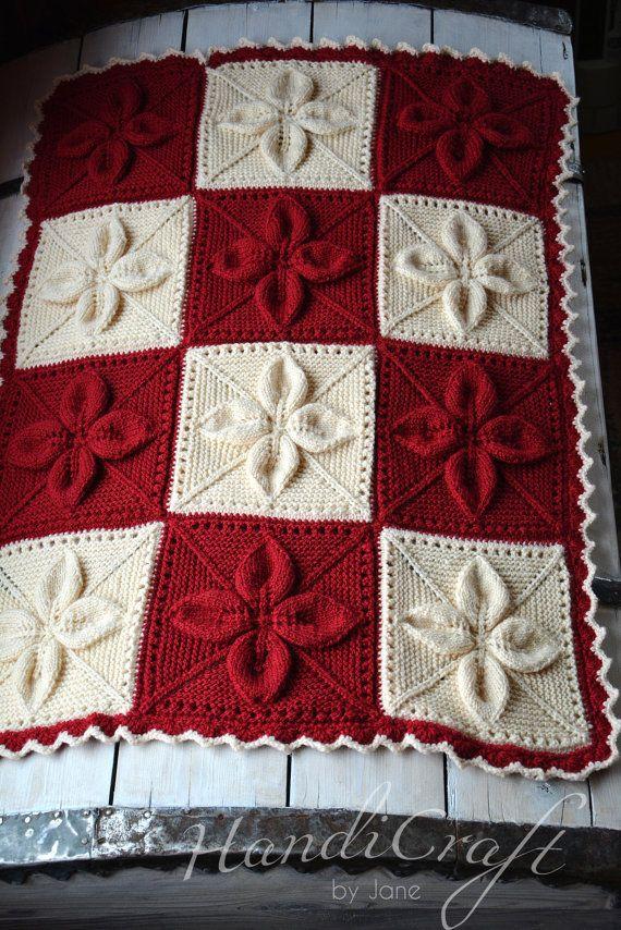 Knitted baby blanket. Red and beige handmade blanket by KilluKalli