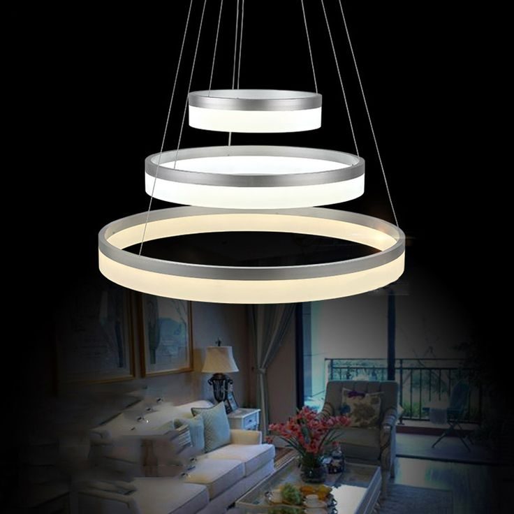 White round ring circular Acrylic LED chandelier For restaurant foyer bedroom dinning room chandeliers hanging lamp VALLKIN
