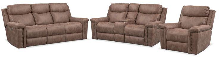 Montana Dual Power Reclining Sofa, Reclining Loveseat And Recliner Set - Taupe