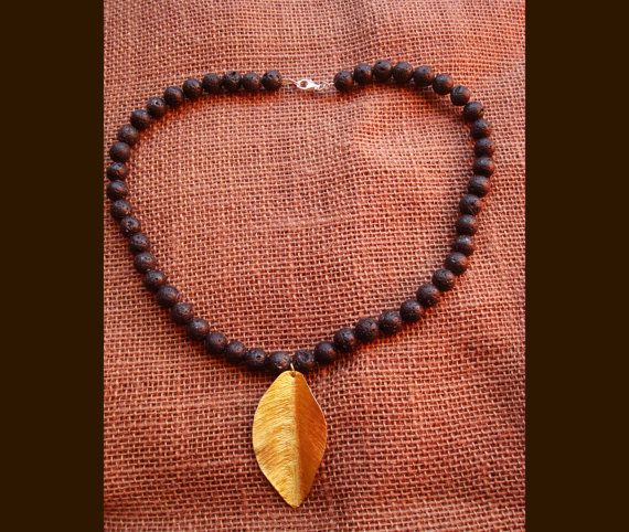 Natural Black Lava Rock Necklace,Handmade HAMMERED Brass Leaf Gold Pendant, Sterling Silver 925 Clasp, Jewelry Necklace