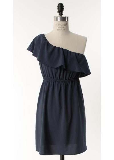 single shoulder ruffled dressDarling Dresses, Darling Navy, One Shoulder Dresses, Blue Dresses, Navy Dresses, Shoulder Navy, Darling Blue, Summer Night, Navy Blue