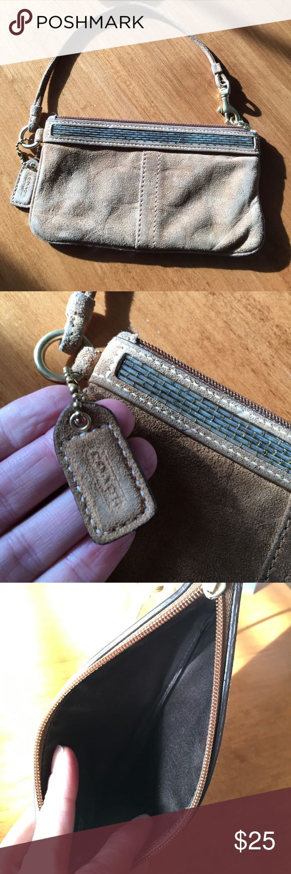 "Coach Wristlet Authentic brown suede Coach wristlet. Used condition. Zipper works perfectly, inside appears clean. The suede ""Coach"" and C's are worn down from use. Price reflects condition. Smoke free home. Offers welcome. Coach Bags Clutches & Wristlets"