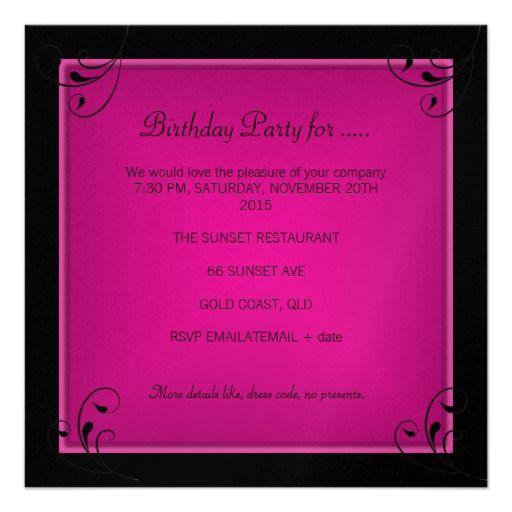 Best Pink And Black Birthday Images On Pinterest Birthday - 21st birthday invitations gold coast