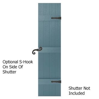 Decorative Faux Hinges And Holdbacks For Exterior Shutters On A Board And Bat