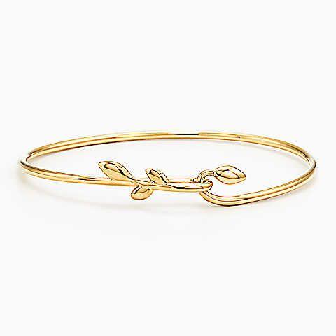 Paloma Picasso® Olive Leaf hook bangle in 18k gold, medium.
