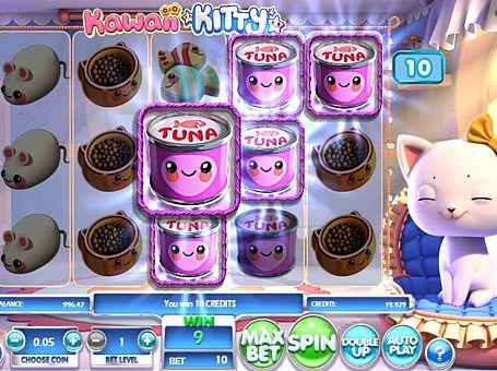 Ігровий автомат Kawaii Kitty з виведенням грошей  Апарат Kawaii Kitty гарантовано сподобається любителям кішок. Крім милого оформлення, цей автомат також отримав бонусну функцію, ризик-режим і 10 ігрових ліній. Такі особливості дозволяють регулярно здійснювати вивід великих сум реальних грошей.