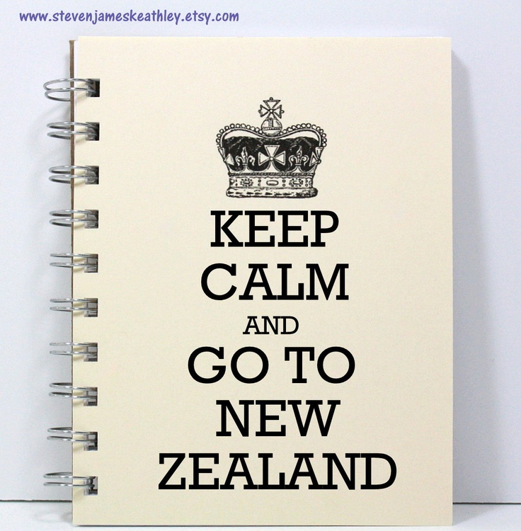 New Zealand Travel Journal Notebook Diary Sketch Book - Keep Calm and Go To New Zealand - Ivory. $8.00, via Etsy.