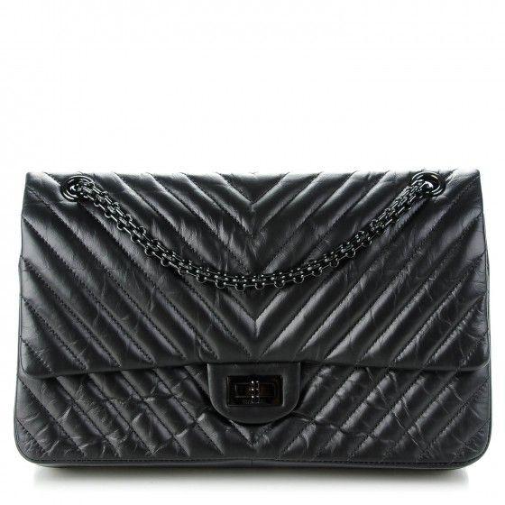 e1d439a5a94f CHANEL Aged Calfskin Chevron 2.55 Reissue 226 So Black in 2019   Women's  Fashion   Chanel, Chanel reissue, Fashion bags
