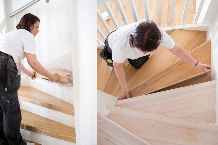 Lundbergs trapprenoveringssteg monteras enkelt och smidigt!  Se hela guiden på http://www.lundbergs.com/sv-se/guider/renovera-trappan