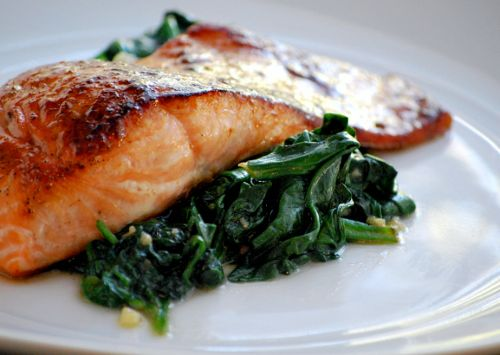 Roasted Brown Sugar Cumin Salmon with Wilted Spinach by asweetpeachef: Good with smoked paprika and lemon peel added to the rub! #Salmon #Brown_Sugar #asweetpeachef