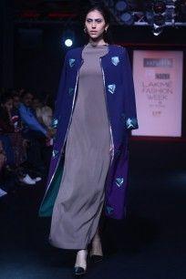 Blue and Purple Sequinned Motifs Front Open Jacket  #lakmefashionweek2016 #aaylixir #motifts #jacket #contemporary #autumnwinter #festive #straightofftherunway #ppus #happyshopping