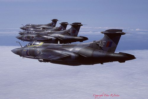 Buccaneer S.2Bs XW527, XN981, XW540/JF & XV161/AF 12 Sqn 08-08-86 Photo by Pter R Foster