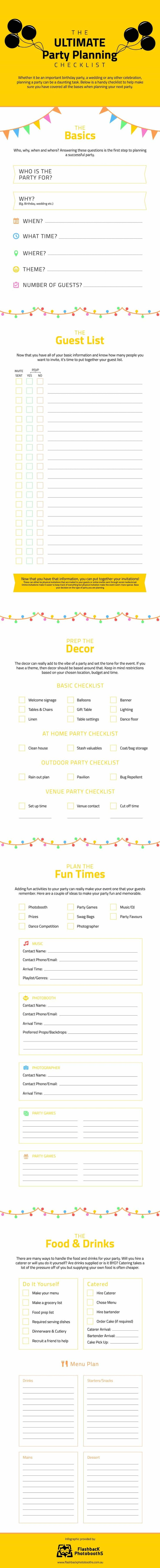 Ultimate Party Planning Checklist Infographic  Our party planning checklist will guide you through planning the perfect celebration!