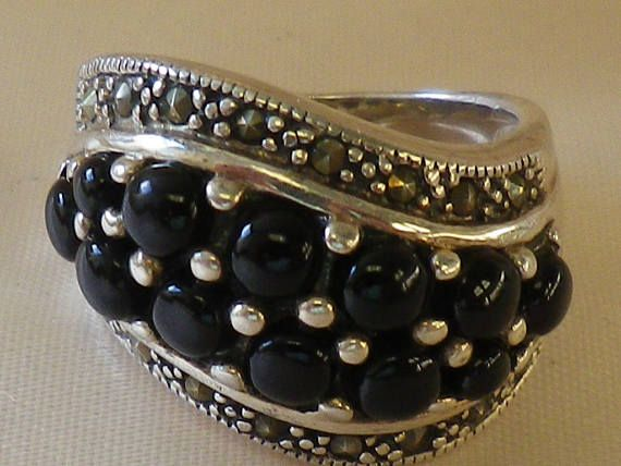 Vintage Chunky Marcasite and Onyx Sterling Silver Ring