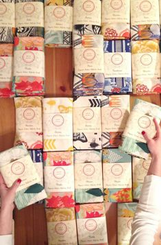 Scarves by Nina Glaser - such fun packaging!