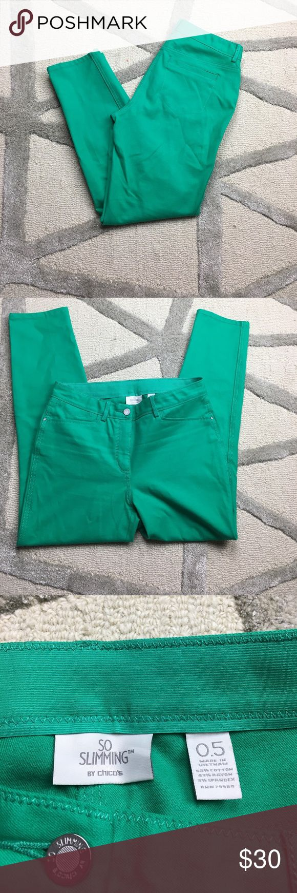 "Chicos So Slimming Green Ankle Length Pants Chicos So Slimming Green Ankle Length Pants. In excellent used condition. With Slimming elastic material on inner waistband. In a chicos size 0.5. Please ask any questions. Inseam measures 28"". Chico's Pants Ankle & Cropped"