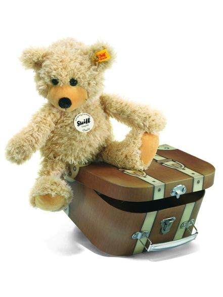 The Steiff Beige Color Teddy Bear with Suitcase is a must for any collection. Made with the brass plated button in ear.